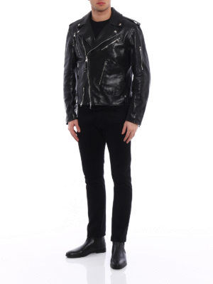 Alexander Mcqueen: leather jacket online - Detachable sleeves leather jacket