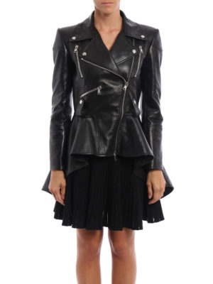 Alexander Mcqueen: leather jacket online - Leather peplum biker jacket