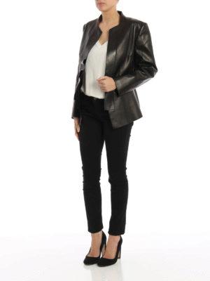 Alexander Mcqueen: leather jacket online - Peplum detail leather jacket