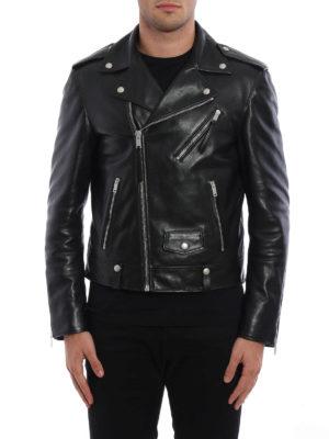 Alexander Mcqueen: leather jacket online - Shiny calf leather biker jacket