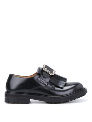 Alexander Mcqueen: Loafers & Slippers - Engraved buckle leather loafers