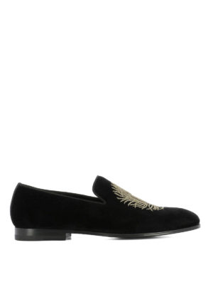 Alexander Mcqueen: Loafers & Slippers - Feather embroidery velvet slippers
