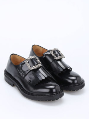 Alexander Mcqueen: Loafers & Slippers online - Engraved buckle leather loafers