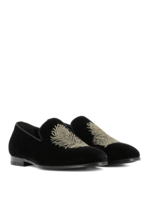Alexander Mcqueen: Loafers & Slippers online - Feather embroidery velvet slippers