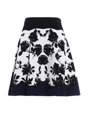 Alexander Mcqueen: mini skirts - Intarsia pattern stretch skirt