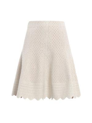 Alexander Mcqueen: mini skirts - Jacquard lace flared mini skirt