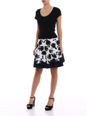 Alexander Mcqueen: mini skirts online - Intarsia pattern stretch skirt