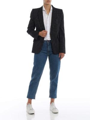 ALEXANDER MCQUEEN: giacche blazer online - Giacca monopetto in lana stretch gessata