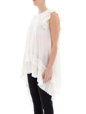 ALEXANDER MCQUEEN: bluse online - Blusa asimmetrica in seta bianca