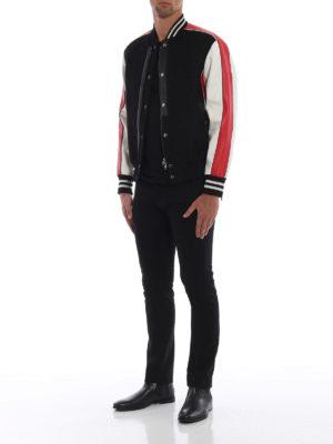 ALEXANDER MCQUEEN: giacche bomber online - Bomber in fustagno nero e pelle a contrasto