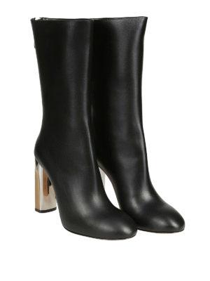 ALEXANDER MCQUEEN: stivali online - Stivali in pelle con tacco scultura bicolore