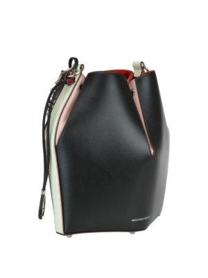 ALEXANDER MCQUEEN: Secchielli online - Bauletto Bucket Bag in pelle color block