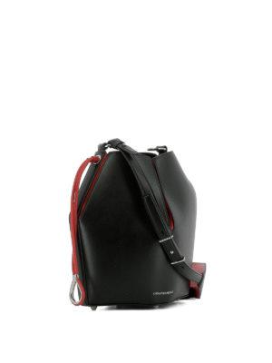 ALEXANDER MCQUEEN: Secchielli online - Borsa in pelle nera e rossa The Bucket Bag