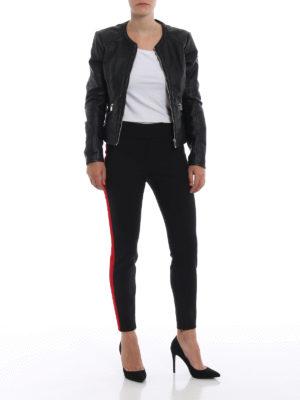 ALEXANDER MCQUEEN: pantaloni casual online - Pantaloni in lana con bande in gros grain