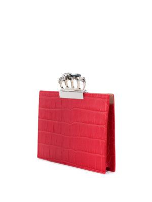 ALEXANDER MCQUEEN: pochette online - Clutch rossa in pelle con quattro anelli