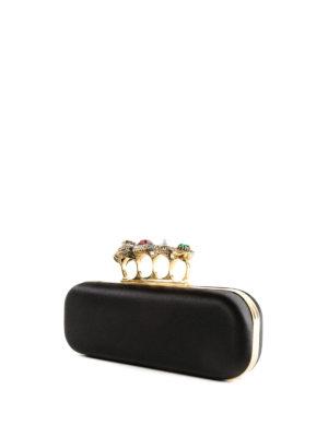 ALEXANDER MCQUEEN: pochette online - Clutch in raso con anelli gioiello