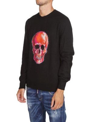 ALEXANDER MCQUEEN: maglia collo rotondo online - Pull in lana con intarsio Skull in mohair