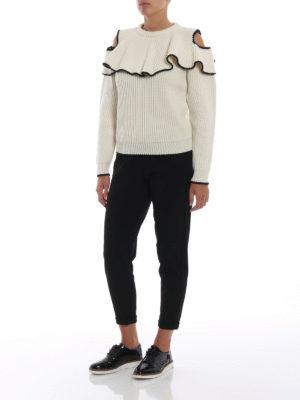 ALEXANDER MCQUEEN: maglia collo rotondo online - Pull girocollo in lana e cashmere con ruches