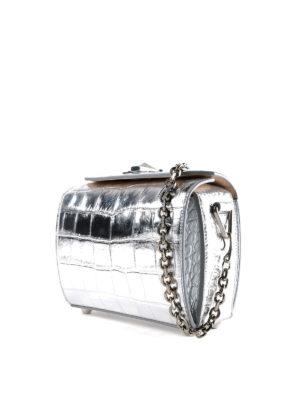 ALEXANDER MCQUEEN: borse a tracolla online - Box bag 19 in pelle metallizzata