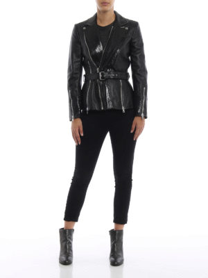 ALEXANDER MCQUEEN: giacche in pelle online - Giacca biker in nappa con revers stampa cocco