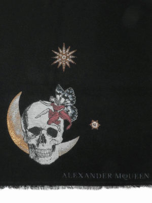 ALEXANDER MCQUEEN: sciarpe e foulard online - Sciarpa Moonlight in lana nera