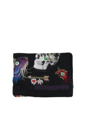 ALEXANDER MCQUEEN: sciarpe e foulard online - Sciarpa in misto seta con ricami sfrangiati