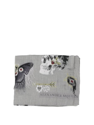 ALEXANDER MCQUEEN: sciarpe e foulard online - Sciarpa in misto seta con ricami a frangette