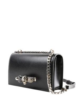 ALEXANDER MCQUEEN: borse a spalla online - Borsa in pelle nera con inserto gioiello