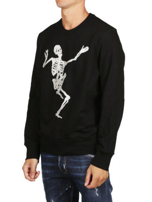 ALEXANDER MCQUEEN: Felpe e maglie online - Felpa nera girocollo Dancing Skeleton