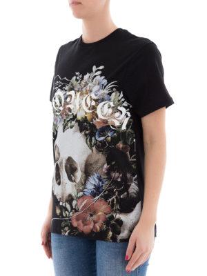 ALEXANDER MCQUEEN: t-shirt online - T-shirt con stampa teschio e fiori