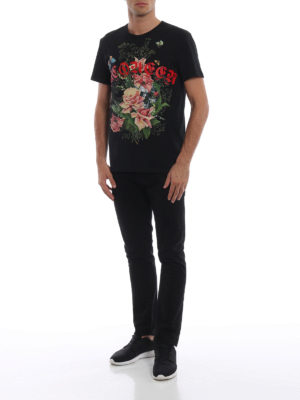 ALEXANDER MCQUEEN: t-shirt online - T-shirt nera in cotone con teschio e rose