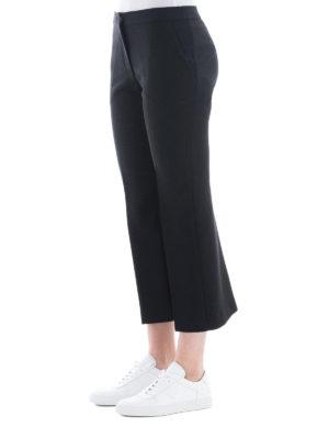ALEXANDER MCQUEEN: Pantaloni sartoriali online - Pantaloni Kickback crop in lana e seta