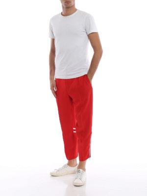 ALEXANDER MCQUEEN: pantaloni sport online - Pantaloni sportivi in crepe rosso vivo