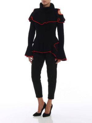 ALEXANDER MCQUEEN: maglia a collo alto e polo online - Pullover in lana e cashmere con ruches