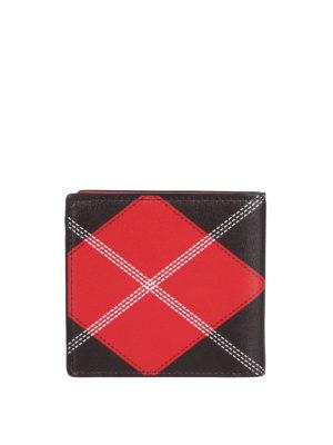 ALEXANDER MCQUEEN: portafogli online - Portafoglio bifold in pelle stampa argyle