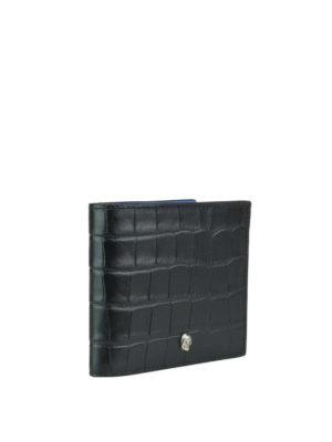 ALEXANDER MCQUEEN: portafogli online - Portafoglio nero in pelle stampa cocco