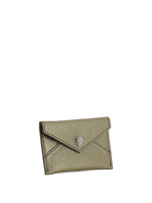 ALEXANDER MCQUEEN: portafogli online - Portacarte metallizzato oro Skull Envelope