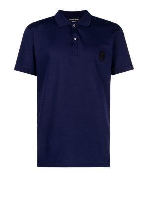 ALEXANDER MCQUEEN: polo - Polo logata in cotone piqué blu scuro