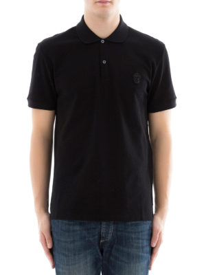Alexander Mcqueen: polo shirts online - Skull patch black polo shirt