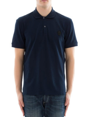 Alexander Mcqueen: polo shirts online - Skull patch blue polo shirt