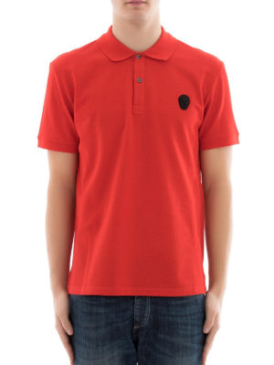Alexander Mcqueen: polo shirts online - Skull patch red polo shirt