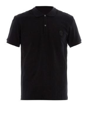 Alexander Mcqueen: polo shirts - Skull patch black polo shirt