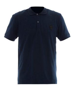 Alexander Mcqueen: polo shirts - Skull patch blue polo shirt