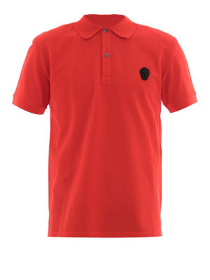 Alexander Mcqueen: polo shirts - Skull patch red polo shirt
