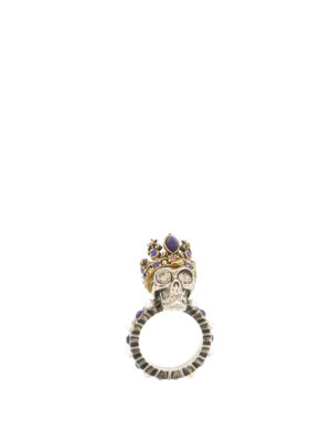 Alexander Mcqueen: Rings online - Queen Skull brass ring