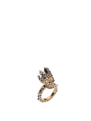 Alexander Mcqueen: Rings - Queen Skull brass ring