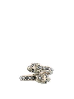 ALEXANDER MCQUEEN: Anelli - Anello Skull in ottone con strass