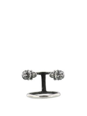 ALEXANDER MCQUEEN: Anelli - Anello doppio Twin Skull in ottone argento