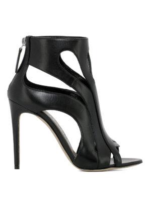 ALEXANDER MCQUEEN: sandali - Sandali a punta aperta in pelle nera