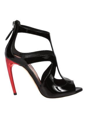 ALEXANDER MCQUEEN: sandali - Sandali in pelle con tacco rosso